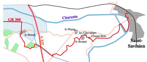Rejoindre le G.R. 360 – Tour de Saintonge en partant du Mung